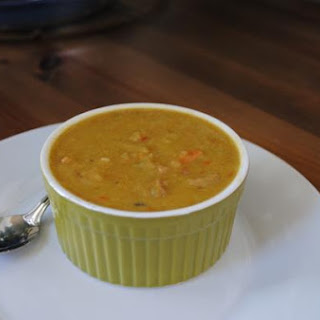 Split Pea Soup With Honey-Baked Ham, Cabbage and Roasted Red Pepper