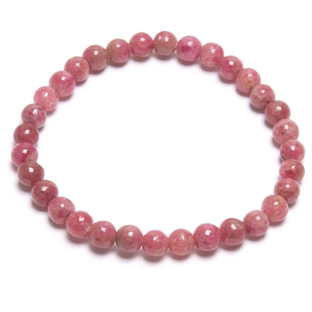 Rosa turmalin, armband med runda kristaller