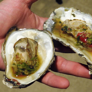 Grilled Oysters with Thai Seafood Dipping Sauce.
