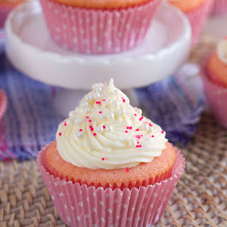 Pink Champagne Cupcakes with Cream Cheese Frosting.