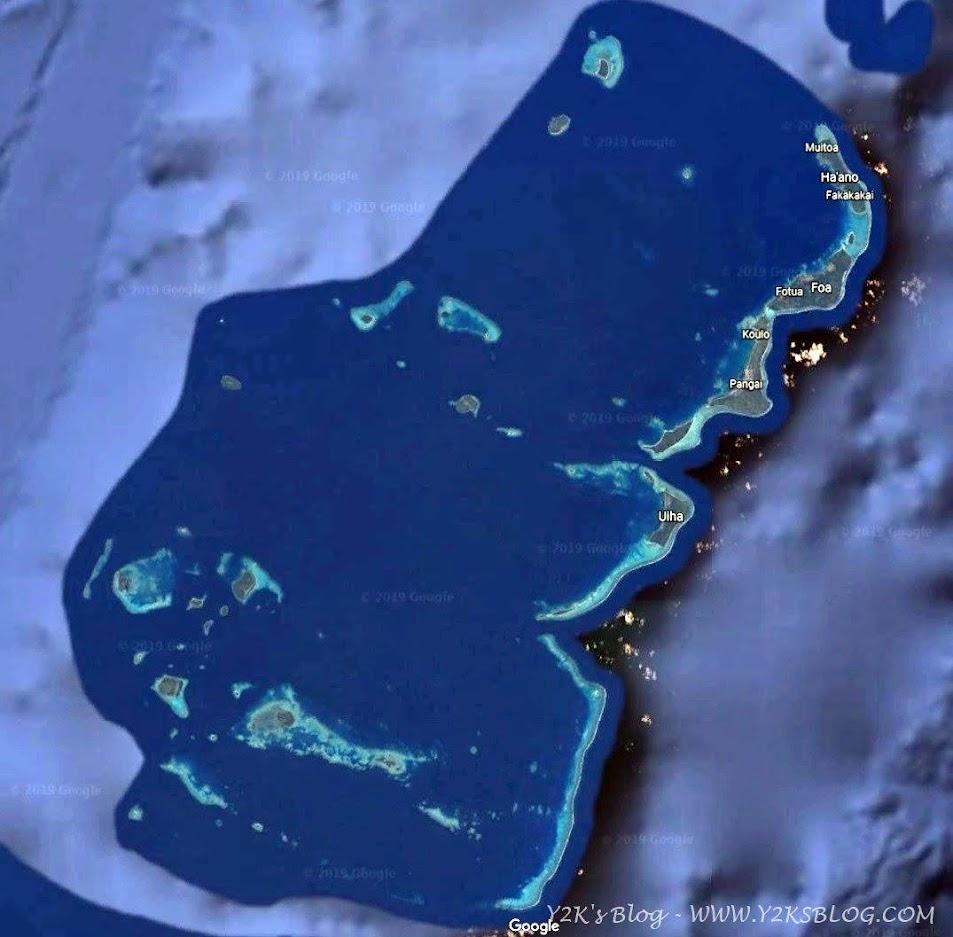 Le Ha'apai dal satellite - Regno di Tonga