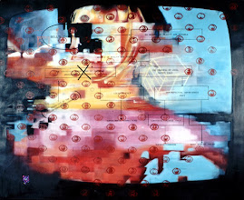 Photo: BELL'S THEORUM 1998 72 x 87 in oil, vinyl lettering and hologram on canvas
