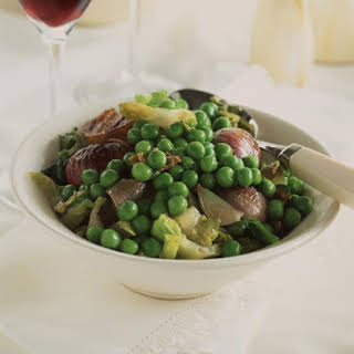 Braised Shallots with Peas and Lettuce.
