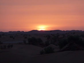 Photo: Sunrise over the sand dunes at Bivouac Le Petit Prince in M'hamid.