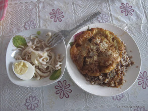 Photo: Lunch: a delicious squid salad, egg-tossed shnitzel, and buckwheat