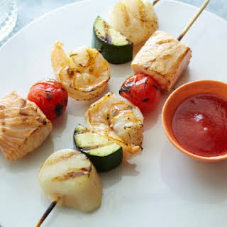 Saucy BBQ Seafood Skewers with Not-So Secret BBQ Sauce.