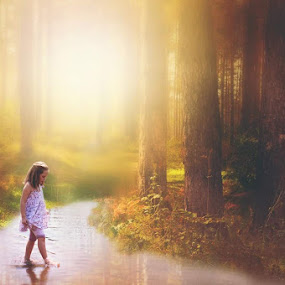Peace by Shayne Janks Nicolas - Babies & Children Child Portraits ( child, little girl, peaceful, beautifull, beautiful, forest floor, forest, quiet, brunette, sunlight, light, shadows, river )