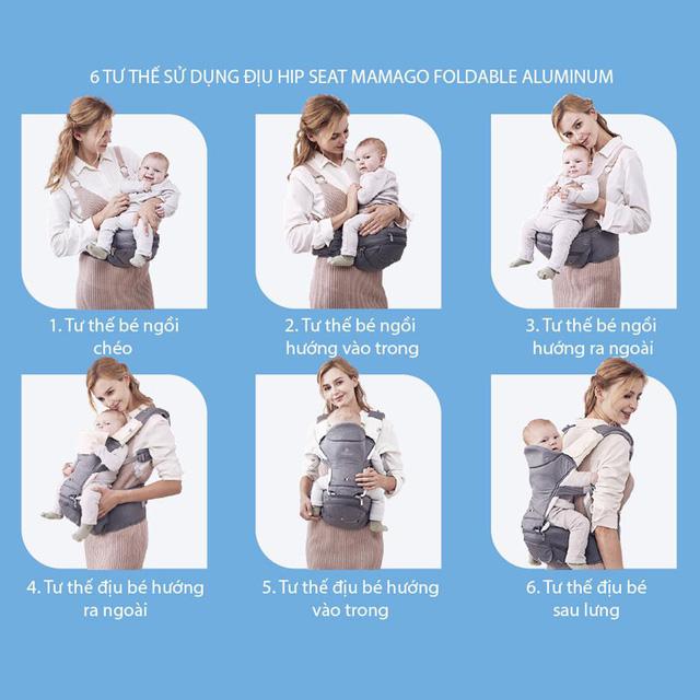 Địu ngồi Mamago với 6 tư thế tiện ích cho mẹ