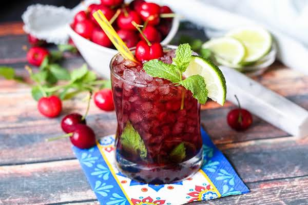 Cherry Lime Mojito In A Glass.