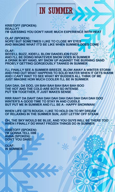 Princess Frozen World Lyrics Android Apps On Google Play