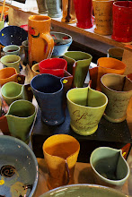 Photo: Pottery display in a crafts market - Martel, Lot