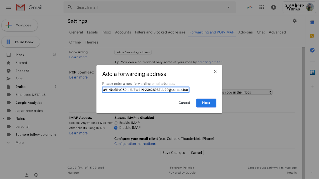 Forwarding address copy from gmail