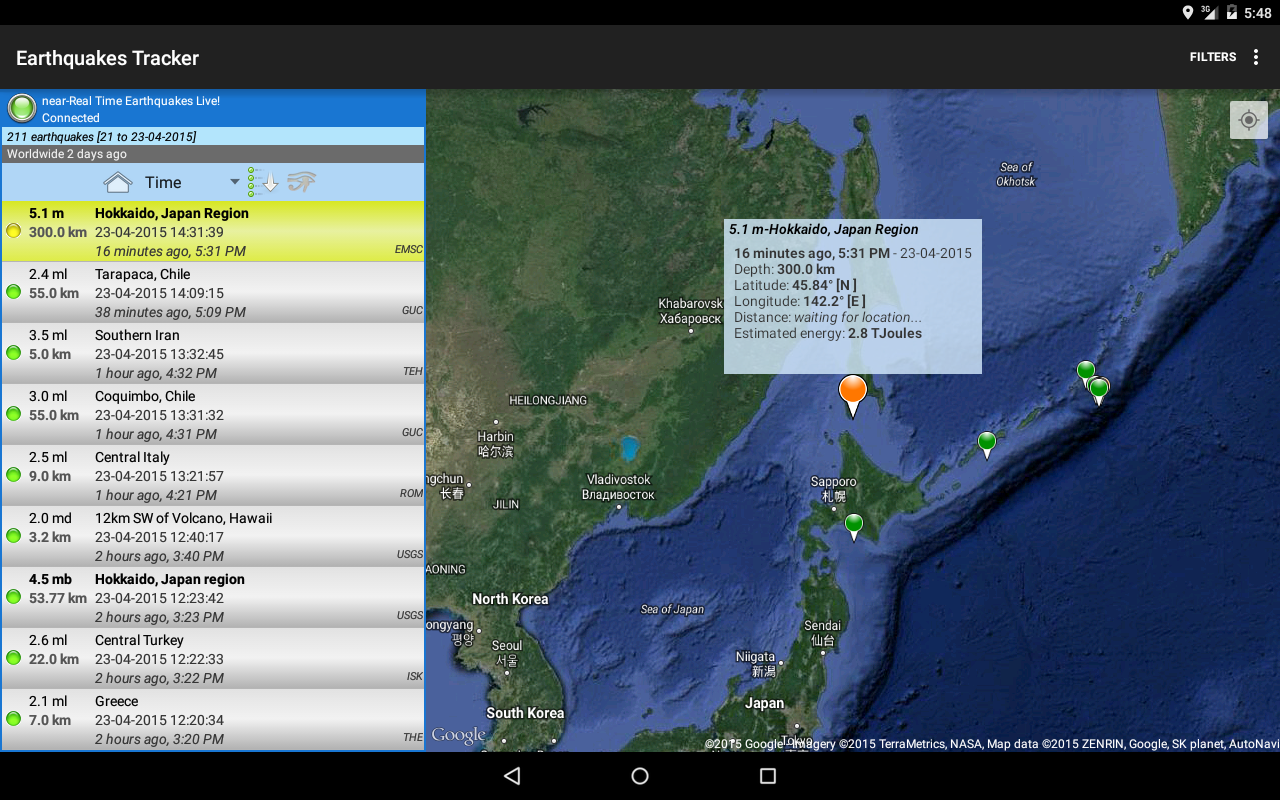 Earthquakes Tracker- screenshot