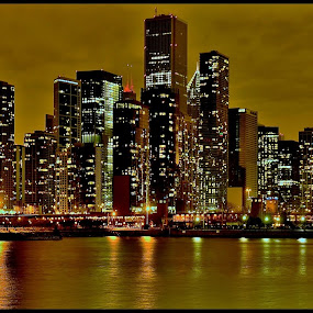 Chicago Skyline at Night by Teza Del - Buildings & Architecture Other Exteriors ( skyline, reflections, chicago )