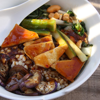 Tofu vegetable barley bowl with Korean BBQ sauce.
