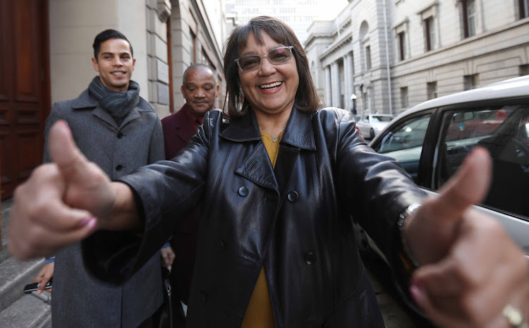 Mayor of Cape Town Patricia de Lille celebrates her victory against the Democratic Alliance outside Western Cape High Court.