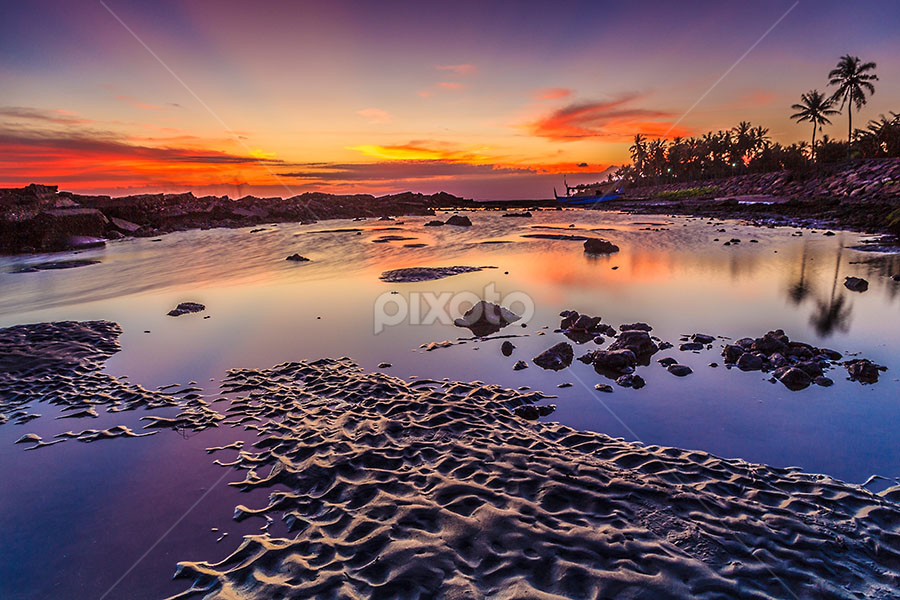 Wet Sands at Dusk by Budi Astawa - Landscapes Waterscapes ( cupel, sand, bali, sunset, beach, dusk )