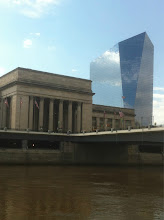 Photo: A view of 30th Street Station and the Cira Centre in the background as viewed from the eastern banks of the Schuylkill River.