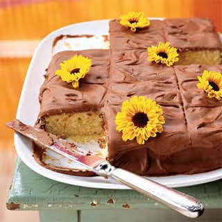 Yellow Sheet Cake with Chocolate Frosting.