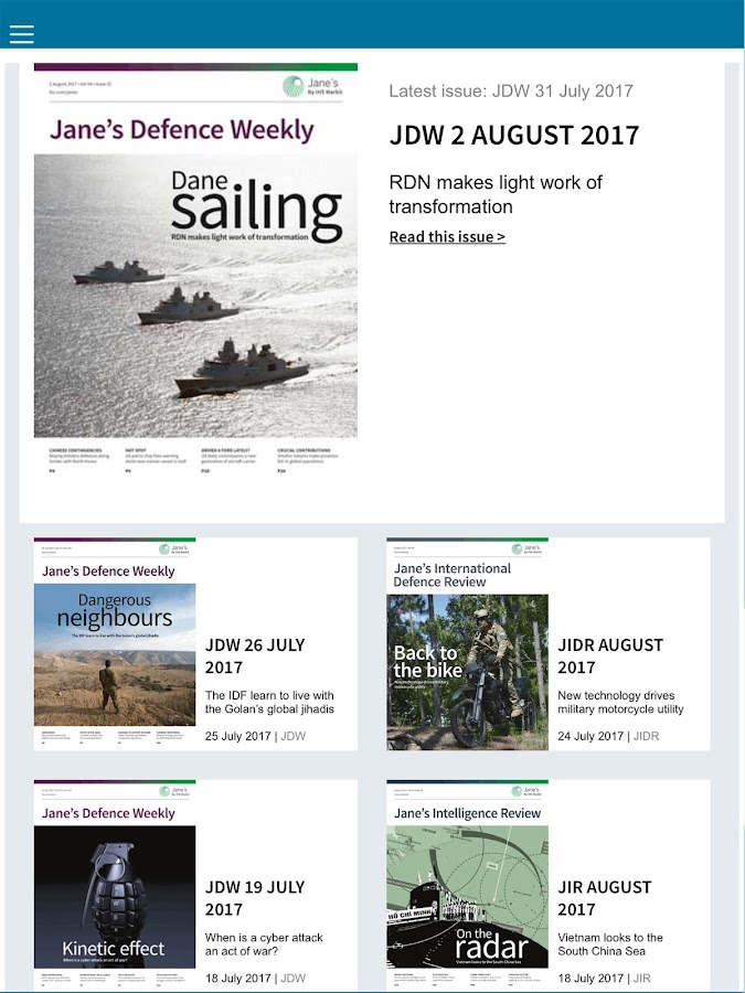 IHS Defence Magazines- screenshot