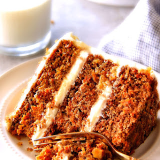 Layered Carrot Cake with Pineapple Cream Cheese Frosting.