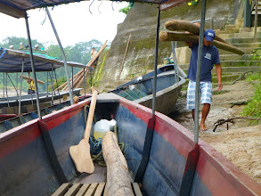 Photo: The motorista and the guia load balsawood logs on the canoa