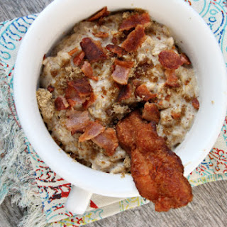 Almond Butter Oatmeal with Bacon and Brown Sugar.