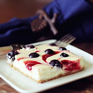 "Healthy ""Red White and Blue"" Swirled Cheesecake Bars."