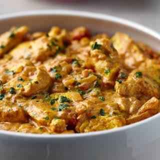 Creamy Malabar Chicken Curry with Fragrant Coriander Coconut Rice.