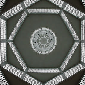 German symmetry  by Aaron Nappin - Buildings & Architecture Architectural Detail ( roof, window, ceiling, hexagonal, lines, germany, symmetry, museum, skylight, looking up, shapes )