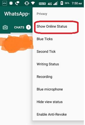 Show Online Status in WhatsApp Plus