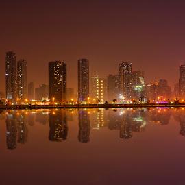 Sharjah Skyline from Dubai by Abbas Mohammed - Buildings & Architecture Office Buildings & Hotels ( beach, uae, girls, skyline, sharjah, new york, abu dhabi )