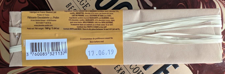 45% pralus hazelnat praline bar back