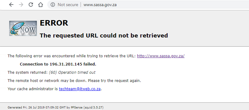 An error message comes up when attempting to access the SASSA Web site.