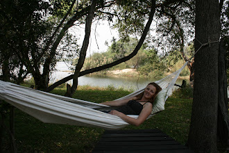 Photo: Leanne volunteers to test the quality of the hammock at the Islands of Siankaba: http://www.go2africa.com/zambia/victoria-falls/mosi-oa-tunya-national-park/safari-game-lodges/the-islands-of-siankaba