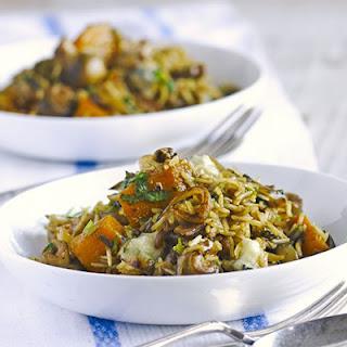 Squash, Mushroom & Gorgonzola Pilaf