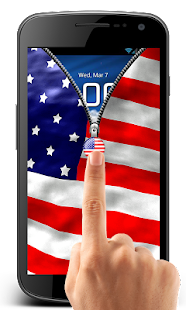 Download US Flag Zipper Lock Free APK for Android