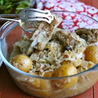 Slow Cooker Potato, Sauerkraut, And Spareribs.