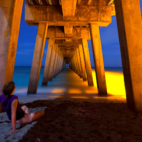 by John Wollwerth - Landscapes Waterscapes ( waterscape, florida, woman, venice, beach, wollwerth, landscape )