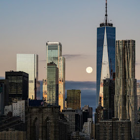 Moon Over Manhattan by VAM Photography - Buildings & Architecture Other Exteriors ( moon, sunrise, exterior, weather, archtiecture )