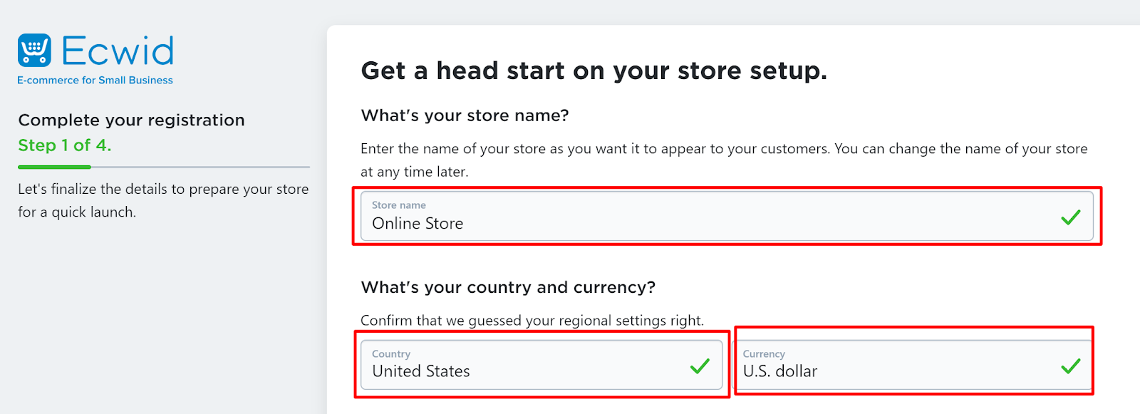 enter in your store name, country, and currency
