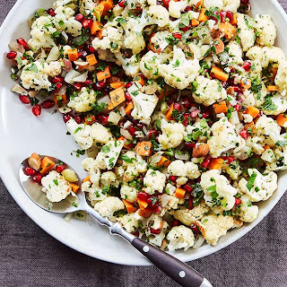 Baked Cauliflower with Pomegranate Seeds and Thyme.