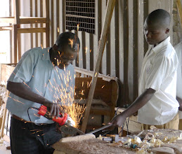 Photo: Sharpening the panga.