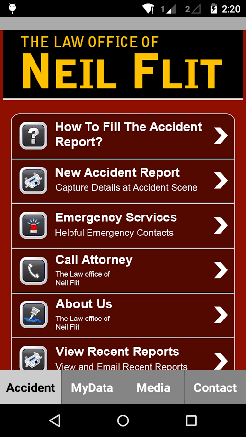Neil Flit Law Accident App- screenshot