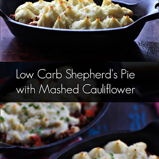 Low Carb Bolognese Shepherd's Pie with Mashed Cauliflower.