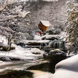 Winter at Babcock State Park by Dave Walters - Landscapes Waterscapes ( glade mill, winter, snow, babcock state park,  )