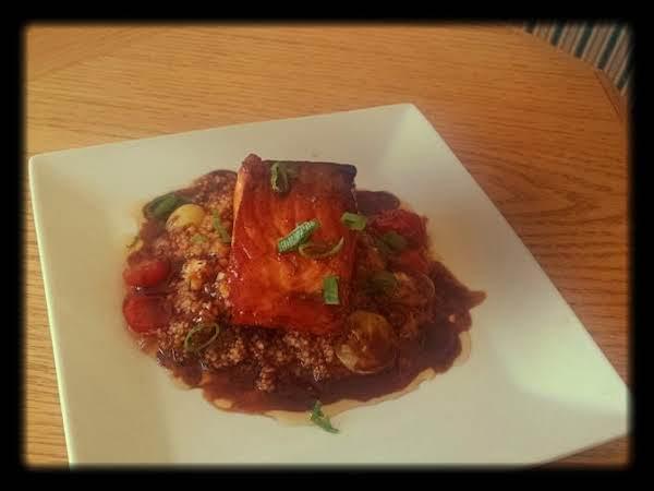 Teriyaki Salmon, Cheesy Couscous & Heirloom Tomato