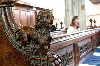 Photo: Lion decoration in Great St Many's University Church, Cambridge.