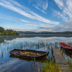 The boats by the lake by Grete Øiamo - Landscapes Waterscapes ( water, waterscape, autumn, boats, boat )