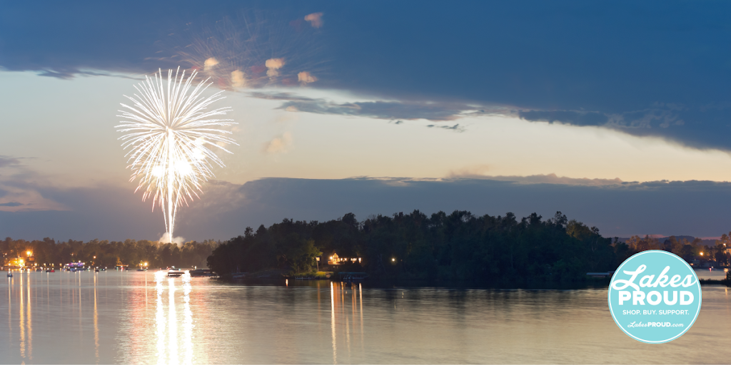Fireworks over Gull Lake - with Lakes Proud Logo